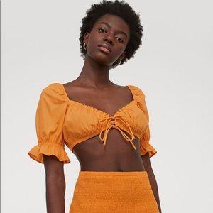 NWT H&M Orange Puff-Sleeve Crop Too